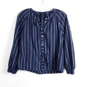 J Crew linen striped pinstripe 6 medium blue waist